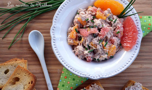 Rillettes de thon à l'orange et au pamplemousse rose