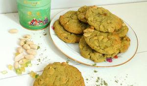 Cookies au thé matcha, cacahuètes et citron confit