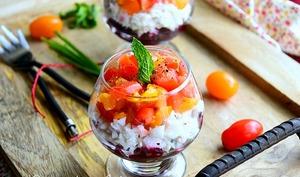 Verrine de betterave tomate et surimi