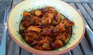 Patates douces aux échines de porc et chorizo
