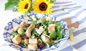 Salade au cresson de fontaine, artichauts grillés et avocat