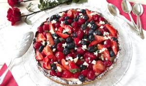 Tarte aux fruits rouges sur panna cotta