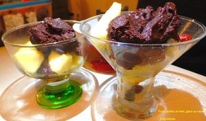 Fruits poêlés au Miel, Glace au Cacao