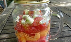 Salade pastèque, melon et féta