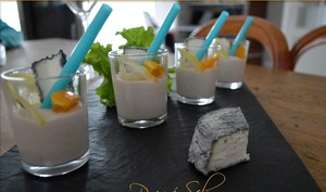 Verrine cocktail au chèvre frais, thon, orange et citron