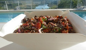 Salade de lentilles au chorizo et aux tomates cerises