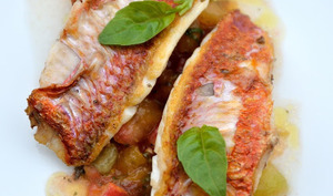 Filets de rouget, sauce vierge