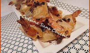 Crevettes aux échalotes en pâte filo