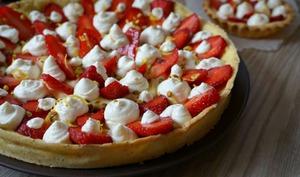 Tarte aux fraises, lemon curd et chocolat blanc