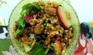 Salade de petit épeautre, nectarine et amande