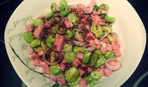 Salade de fèves et jambon
