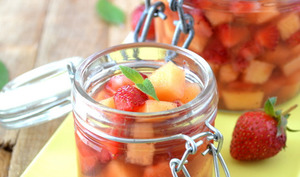 Soupe de melon et fraises
