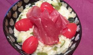 Risotto courgette poivron parmesan et sa charcuterie italienne