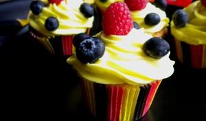 Cupcakes Limoncello, framboises et myrtilles aux couleurs de la Belgique