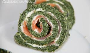 Roulé épinards et saumon