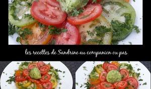 Sorbet concombre et sa salade de tomates colorées au companion