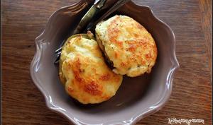 Pommes de terre farcies au fromage frais ail et fines herbes et mozzarella