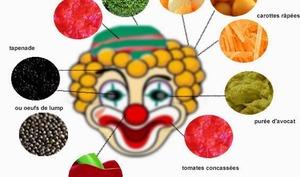 Salade aux légumes, en forme de clown