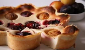 Gâteau au fromage blanc aux prunes, bio, sans oeufs et sans gluten