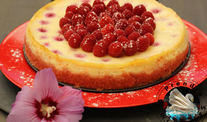 Cheesecake framboises aux biscuits roses de Reims