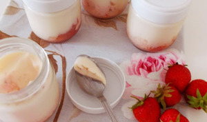 Yaourts à la compotée de fraises