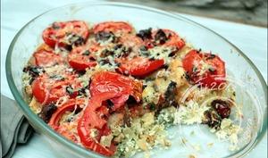 Gratin de pain perdu à la ricotta et aux tomates