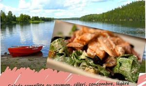 Salade complète au saumon, basses calories, sans gluten