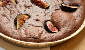 Fondant au chocolat, figues et liqueur à l'anis