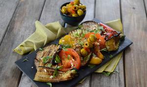 Légumes à la plancha, brochettes d'olives