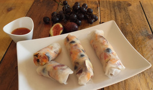 Rouleaux de printemps magret fumé, figue et mi-raisin