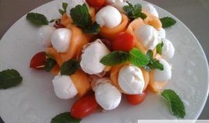 Bouquet de melon mozarella et jambon de parme