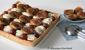 Tarte à la mousse de mascarpone, verveine, figues-raisins
