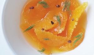Suprêmes d'oranges, safran et baies du Sichuan