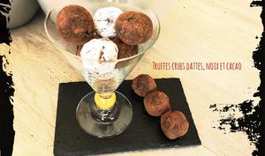Truffes crues dattes, noix, cacao