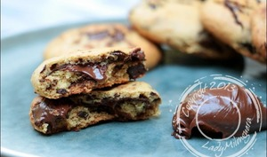 Cookies coeur coulant chocolat-noisettes