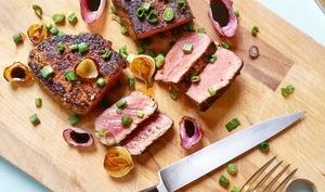 Pavé de boeuf d'Aubrac, marinades sèches maison BBQ et Café