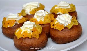 Babas au rhum aux oranges caramélisées à la vanille