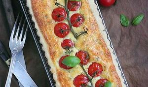 Tarte tomates cerise fromage de chèvre et basilic