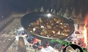 Châtaignes grillées au feu de bois