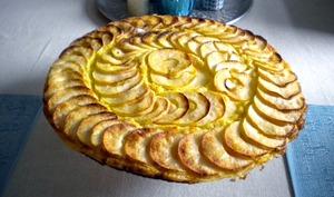 Tarte fine aux pommes, crème d'amandes et Amaretto