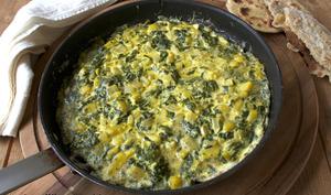 Omelette aux blettes, pommes de terre et safran façon Ottolenghi