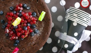 Fondant au chocolat et fruits rouges