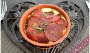 Médaillon de Lily rose en trois cuissons à la tomme de Brie