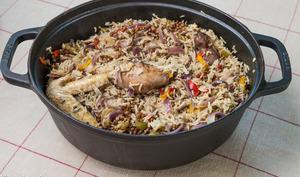 Poulet au riz et lentilles