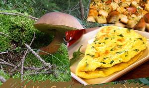 Omelette aux cèpes, à la persillade et ses petits croûtons