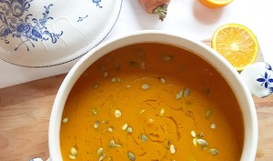 Soupe carotte, orange et curry de madras