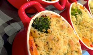 Crumble de saumon aux légumes
