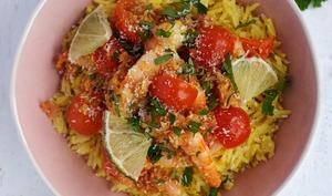Crevettes au curry et à la noix de coco