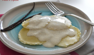 Ravioli aux crevettes et à la ricotta sauce vanille