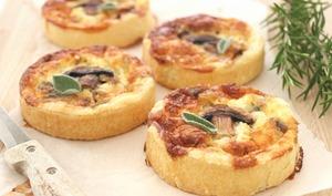 Mini quiches champignons, oignons et sauge